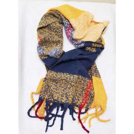 Fular calduros cu franjuri Yellow & Blue