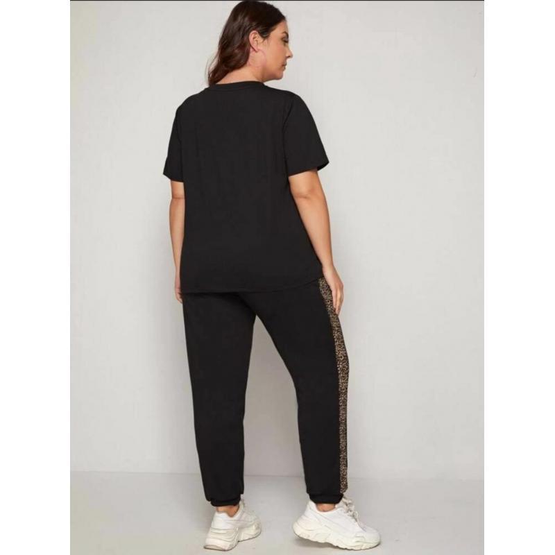 Trening cu maneca scurta Plus Size Fit,negru, bumbac, spate