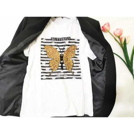 Tricou alb Butterfly din vascoza cu strasuri
