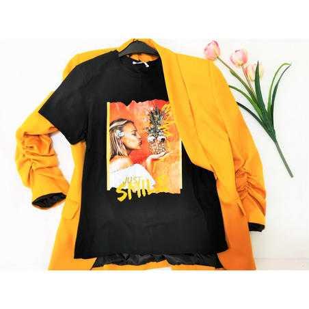 Tricou negru Ananas din vascoza cu strasuri si print
