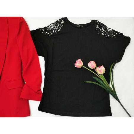 Tricou negru elegant din vascoza