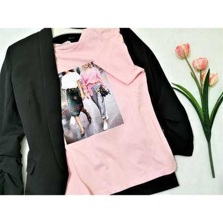 Tricou roz din vascoza cu print Girls