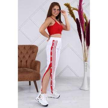 Pantaloni sport de fâș cu capse, albi