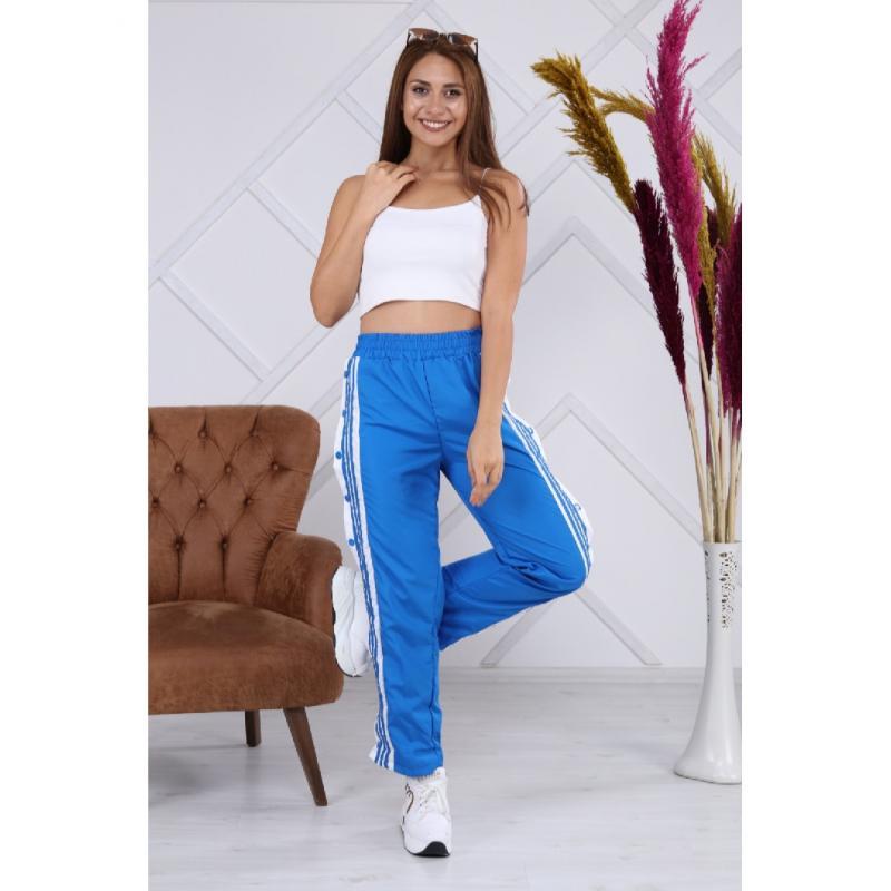 Pantaloni sport de fâș cu capse, albaștri, Be Original