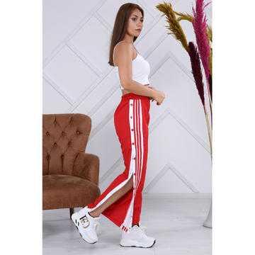 Pantaloni sport de fâș cu capse, roșii, Be Original