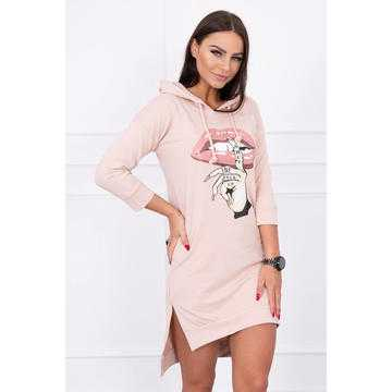 Rochie sport hanorac din bumbac Shut, roz pal