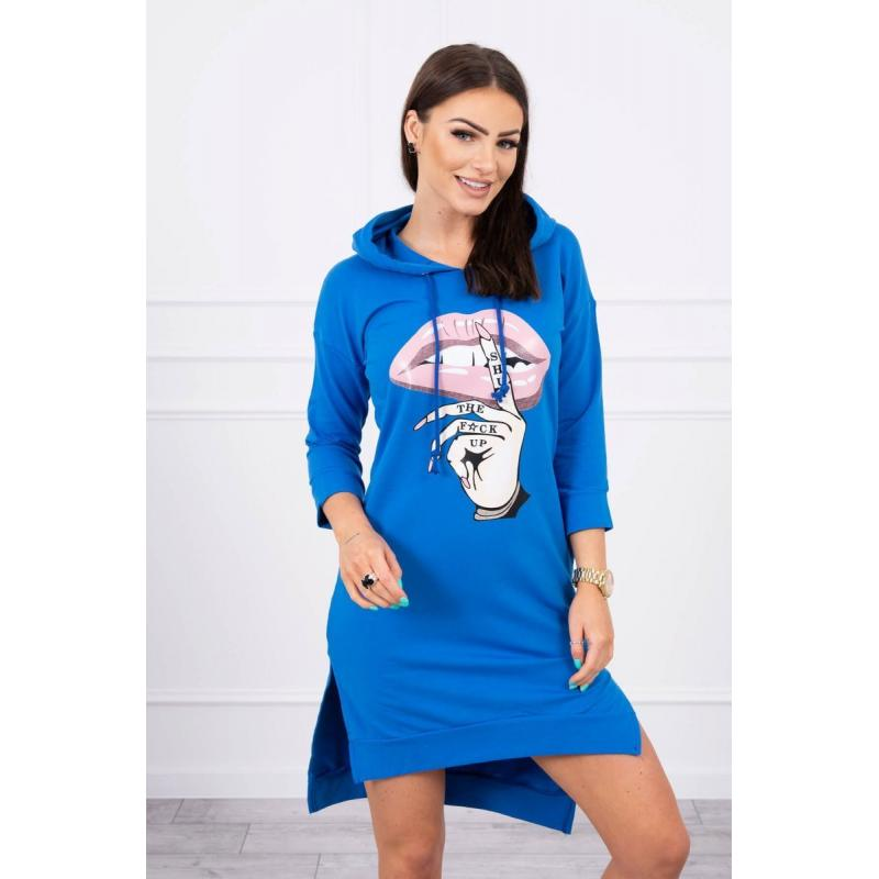 Rochie sport hanorac din bumbac Shut, albastră
