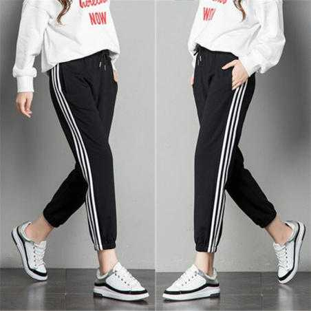 Pantaloni trening negri cu dungi albe laterale, bumbac