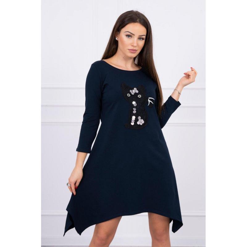Rochie asimetrică cu mâneci din bumbac, bleumarin