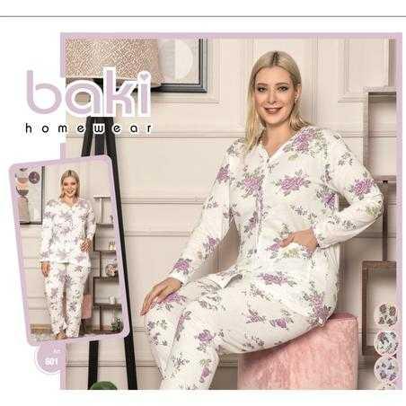 Pijama dama marimi mari, bumbac, imprimeu floral