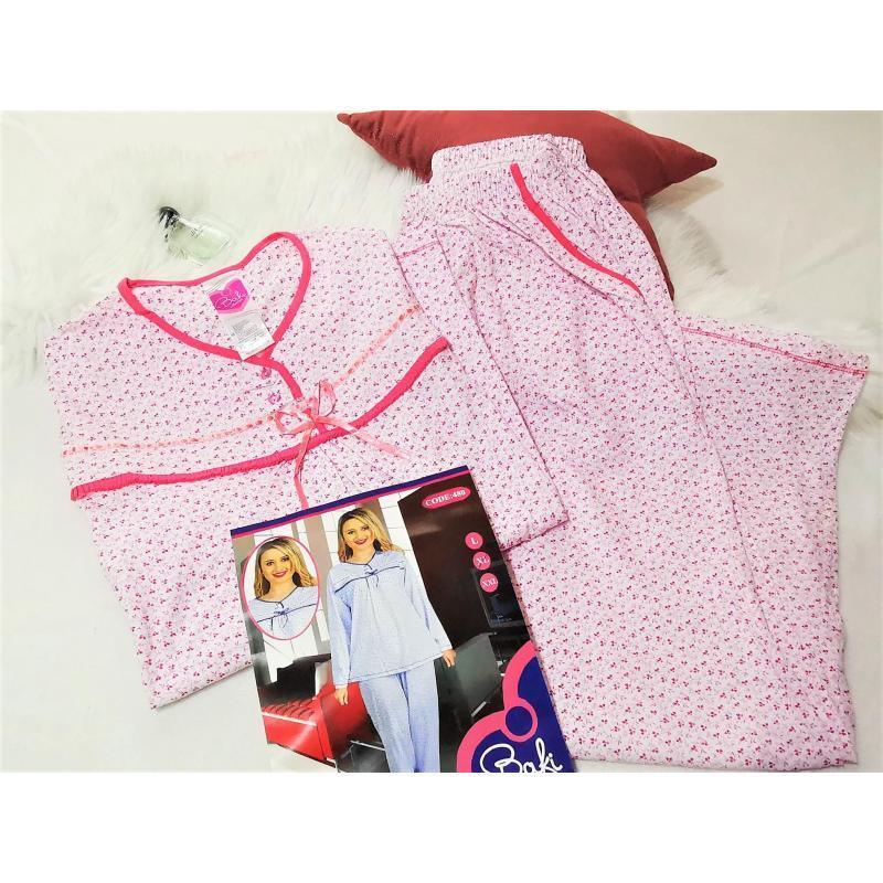 Pijama dama marimi mari, bumbac, roz