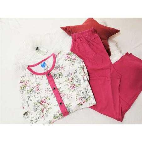 Pijama dama marimi mari, bumbac, roz pal