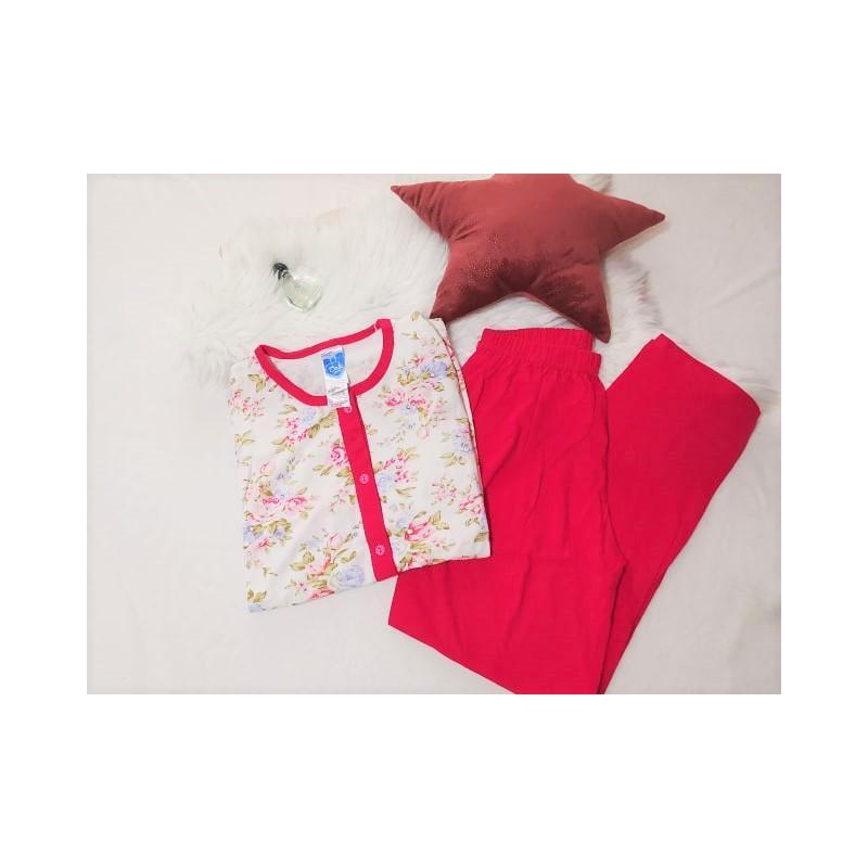 Pijama dama marimi mari, bumbac, fuchsia