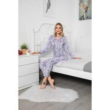 Pijama dama, bumbac, gri