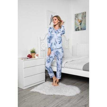 Pijama dama, bumbac, albastra