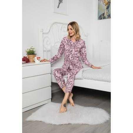 Pijama dama, bumbac, inflorata