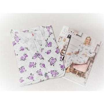 Pijama dama marimi mari, bumbac, flori mov