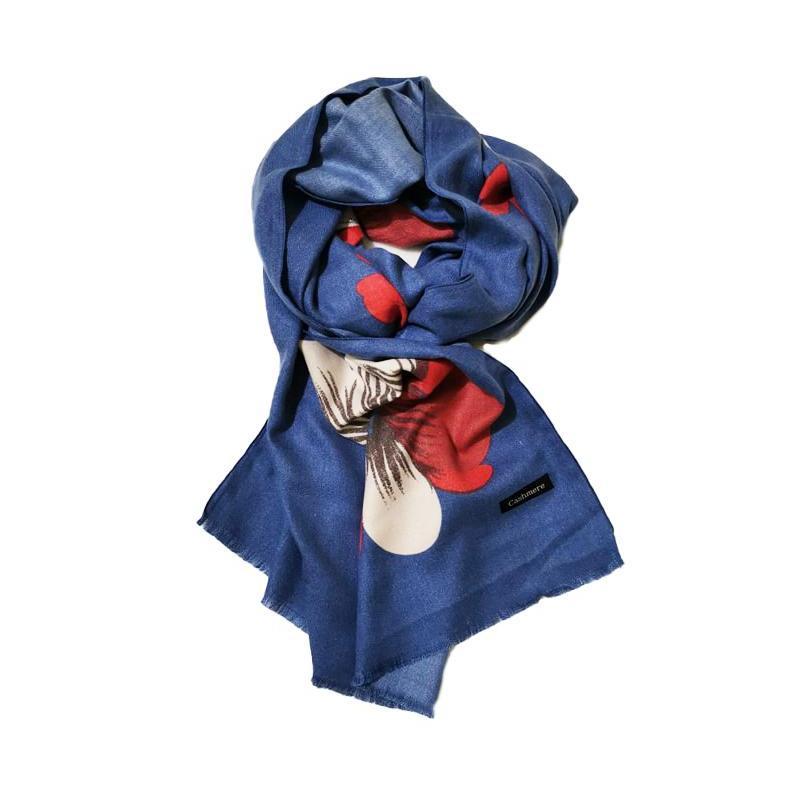 Sal din casmir, albastru cu imprimeu floral