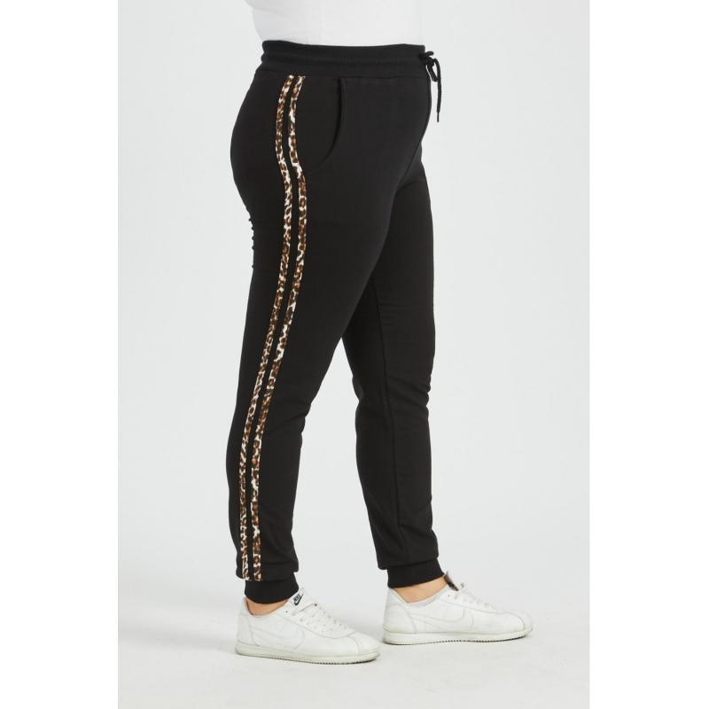 Pantaloni trening marimi mari, negri, bumbac