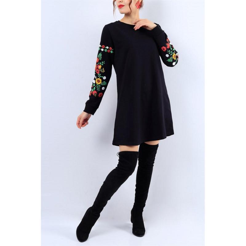 Rochie neagra din bumbac cu imprimeu floral si maneci lungi