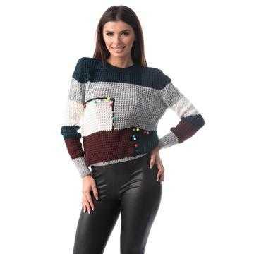 Pulover tricotat cu lana, multicolor