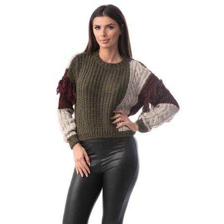 Pulover franjurat, tricotat cu lana, multicolor