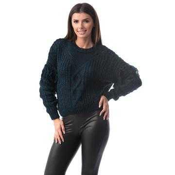 Pulover franjurat, tricotat cu lana, bleumarin