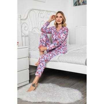Pijama dama, bumbac, flori multicolore