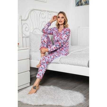 Pijama dama, bumbac,roz cu flori multicolore