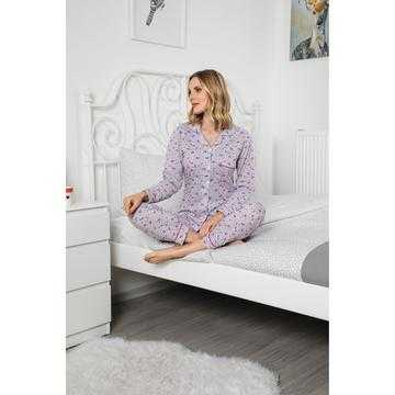 Pijama dama, bumbac,gri cu flori multicolore