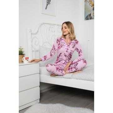 Pijama dama, bumbac,roz cu flori rosii