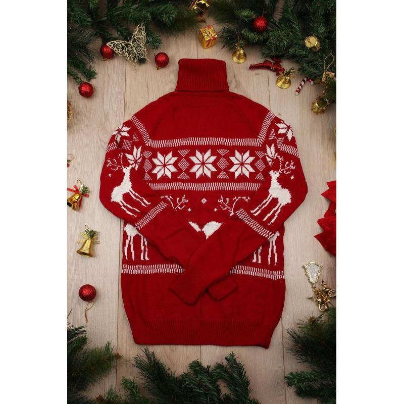 Pulover tricotat Craciun rosu cu guler inalt