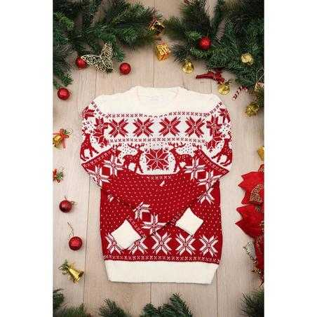 Pulover tricotat Craciun rosu cu alb