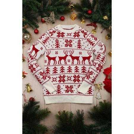 Pulover tricotat Craciun alb cu rosu