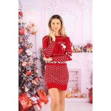 Rochie tricotata Craciunita cu reni