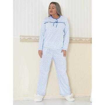 Pijama dama marimi mari, bumbac, albastra