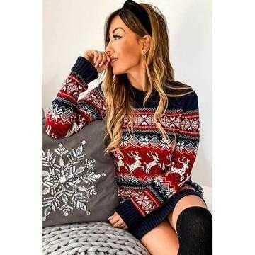 Rochie tricotata Craciunita cu negru,rosu si alb
