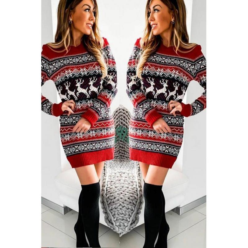 Rochie tricotata Craciunita cu rosu,negru si alb