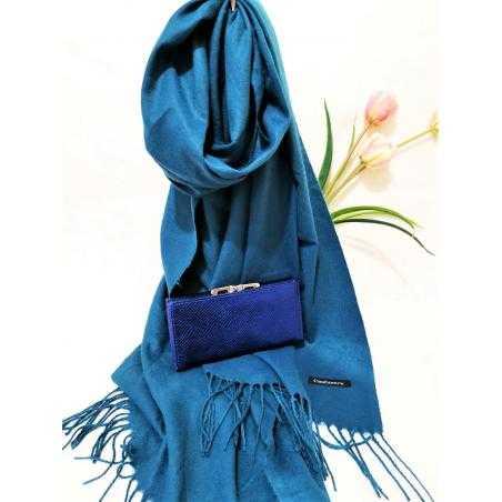 Set cadou esarfa casmir albastra si portofel albastru piele ecologica