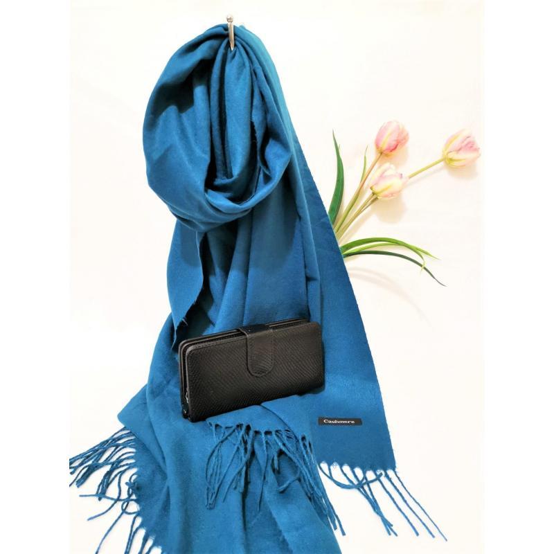 Set cadou esarfa casmir albastra si portofel negru piele ecologica