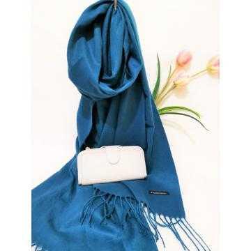 Set cadou esarfa casmir albastra si portofel gri piele ecologica
