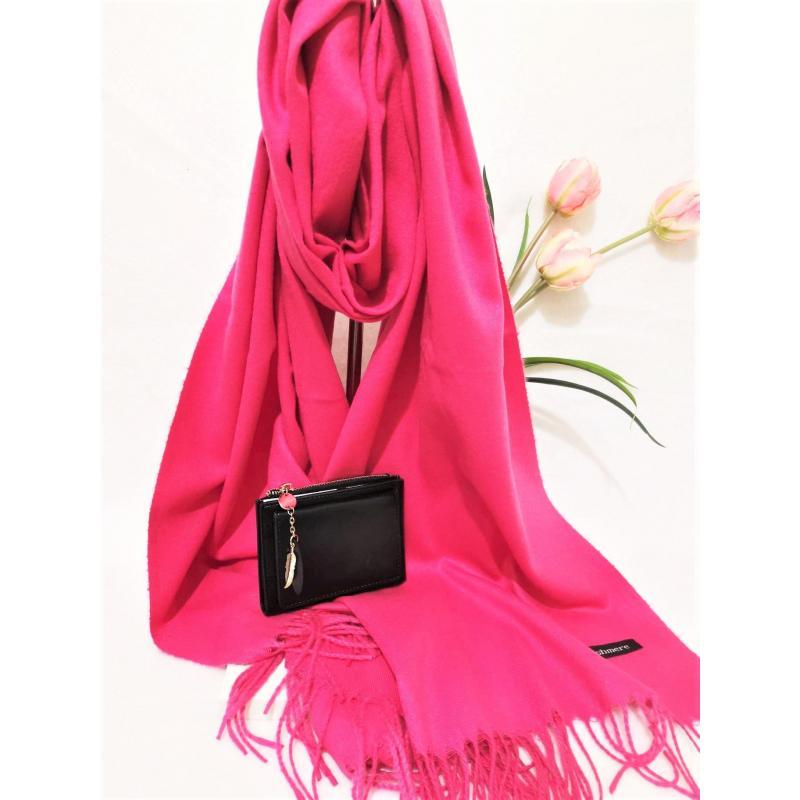 Set cadou esarfa casmir roz si portofel negru din piele ecologica