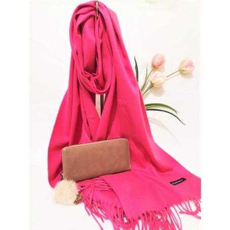 Set cadou esarfa casmir roz si portofel bej din piele ecologica