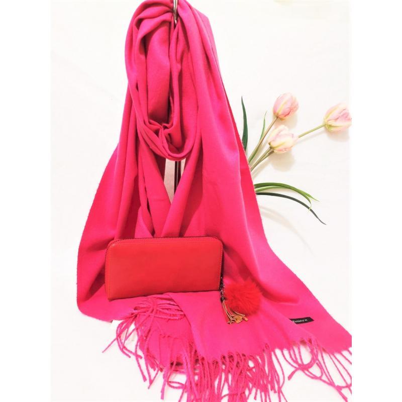 Set cadou esarfa casmir roz si portofel rosu din piele ecologica