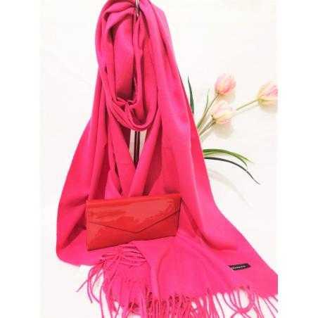 Set cadou esarfa casmir roz si portofel rosu lacuit din piele ecologica