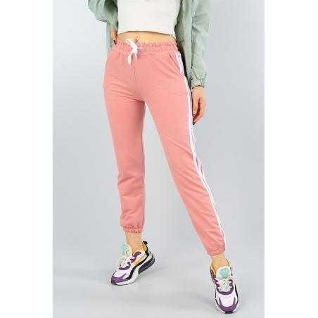 Pantaloni sport roz cu dungi albe laterale, bumbac