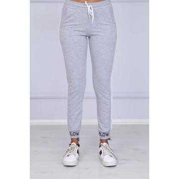Pantaloni trening gri cu dungi albe laterale, bumbac