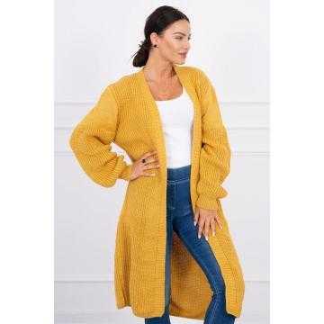 Cardigan lung tricotat galben