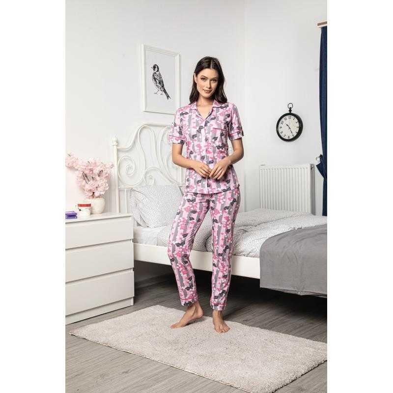 Pijama roz cu maneca scurta 100%bumbac