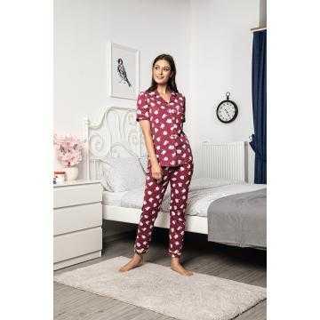Pijama grena cu maneca scurta 100%bumbac